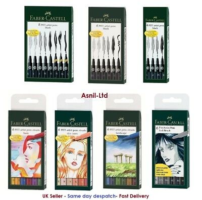 Faber Castell Pitt Pens Set of 4,6,8 Pens : Black,Basic,Landscape,skin tone,grey
