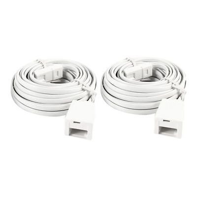 5X(2 Pcs White UK BT 6P4C Male to Female Modular Phone Extension Cord 6M E8O8)
