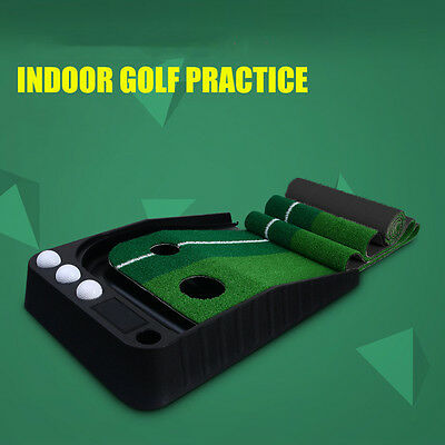 A of Portable Golf Practice Putting Mat Trainer Training Indoor-Outdoor