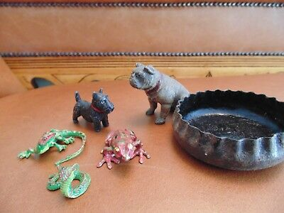 Lot -2      3 Small Cold Painted Bronze Metal Not Resin + Lead Dog +