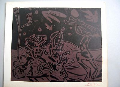 PABLO PICASSO - Dancers and owl - Linoleum original 1962 - Signed by hand COA