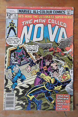 The Man Called Nova 10 Marvel comics 1977  VG+ (?) pence copy