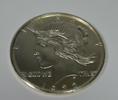"""Rare  4-DRINK COASTERS Lady Liberty 1922 Large 3"""" Metal USA One Dollar Coin"""