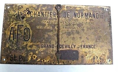 Marine Vintage Ship Nautical Brass Name Plate- Chantiers De Normandie - 1983 B26