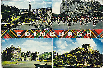 Postcard Edinburgh Princes Street Hollyroodhouse Pipe  Castle Esplanade 1971
