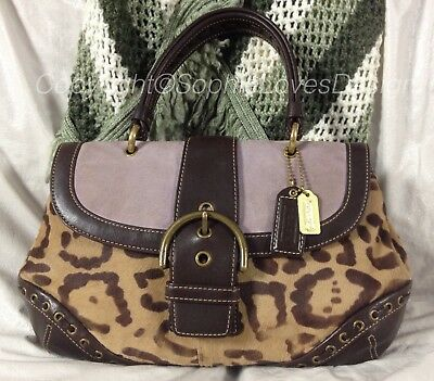 Coach 9657 Madison Ocelot Exotic Leopard Haircalf Suede Leather Top Handle $698