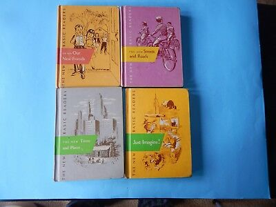 Lot of 4 Vintage 1950's New Basic Readers Reading Text Books Use but good shape.