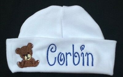 Personalized Baby Teddy Bear Beanie Baby  Hat Baby Shower Gift With Name
