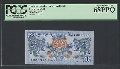 Bhutan One Ngultrum 2013 P27b Uncirculated Grade 68