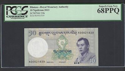 Bhutan 10 Ngultrum 2013 P29b Uncirculated Grade 68