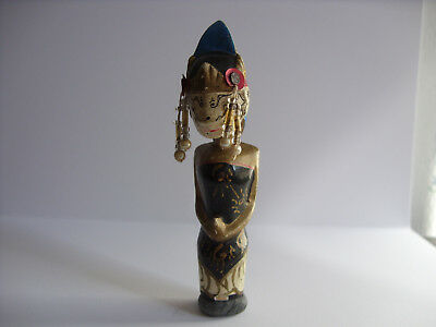 Unknown Wood and Beads Painted Woman Totem/Tiki Figure - Old - Strange