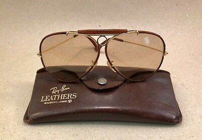 Vintage Ray Ban Leathers Shooter Changeable Brown 62 [] 14 B&L USA Bausch Lomb