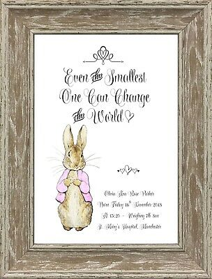 Personalised Peter/Flopsy Rabbit Christening Wall Art Print Only