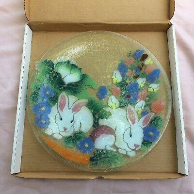 "Peggy Karr Large Rabbit Platter Plate 13-3/4"" Excellent - Insured Shipping"