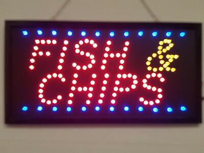 LED Flashing FISH AND CHIPS sign for shop business door hanging window takeaway
