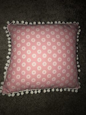 Girls Pink Floral Pom Pom Small Padded Cushion