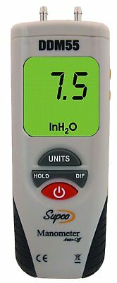 "Supco DDM55 Dual Input Digital Differential Manometer | -55 to 55"" H20 Measuring"