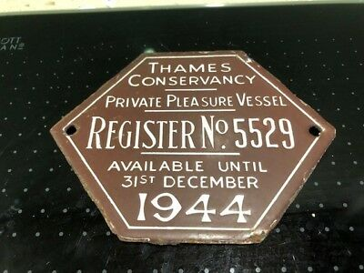 Antique enamel 1932 Thames Conservancy enamel plaque - Private Pleasure Vessel
