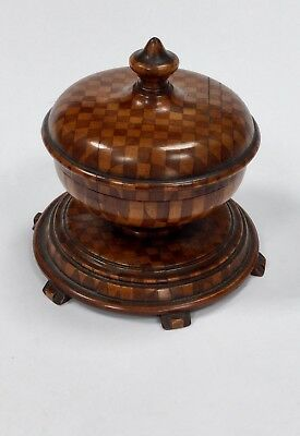 Vintage TREEN Chequered Pot