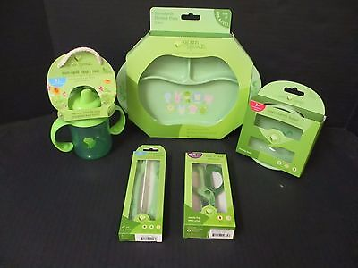 5 Green Sprouts - Assorted Feeding Dishes - Pvc Free - Plant Based - El 2578