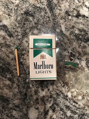 Vintage Marlboro Menthol Metal Key Chain Charm Tag And Match Box With Match