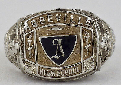Vintage 1930 10K White Gold Filigree Abbeville High School Class Ring Size 6