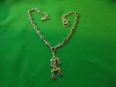 """STERLING SILVER COLORED STONE NECKLACE w/TOGGLE CLASP 24"""" LENGTH."""