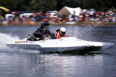 DRAG RACING DRAG BOAT PHOTO TOP FUEL HYDRO RED BARON FIRE RED BLUFF CA 1982