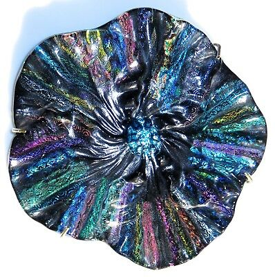 Dichroic Fused Glass Flower Wall Art Textured Handcrafted Signed Mothers Day
