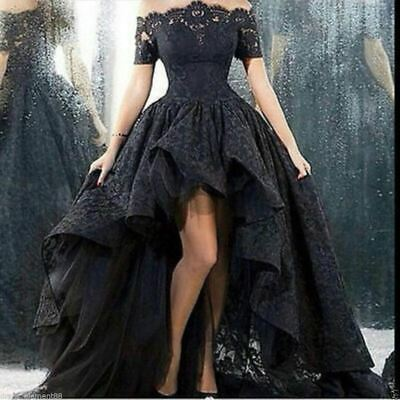 HIGH LOW BLACK lace Gothic wedding Dress Halloween Ball Bridal Gown ...