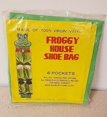 1977 Vtg Frog Froggy House Shoe Organizer Bag For Kids Shoes Made In Taiwan New