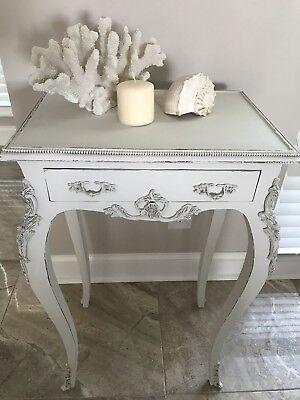 Antique Vintage French End Table or Nightstand, wood and ormulo