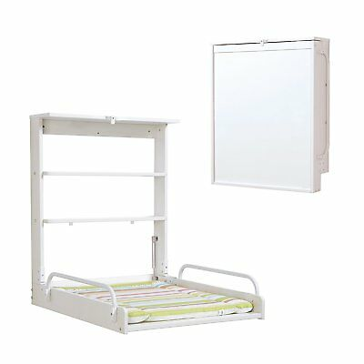 Roba foldable wall Diaper Changer with mattress white wood Practico Baby Germany