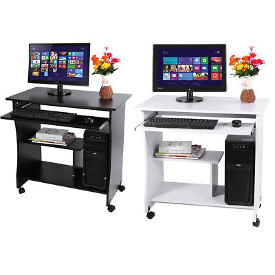 Computer Desk Home Office Furniture Mobile Workstation Laptop Table With Shelves