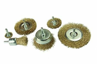 Rotary Wire Wheel & Cup Brush 6 Piece Set 6Mm Shank Use With Power Drill 2106
