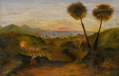 K.F. Hall - Early 20th Century Oil, Couple in a Landscape