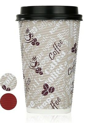 Disposable Hot Coffee Insulated Cups By Golden Spoon – 50 Pack Set Complete Wi