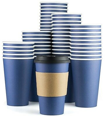 Disposable Coffee Cups With Lids - 16 oz To Go Coffee Cups (90 Set) With Sleeves
