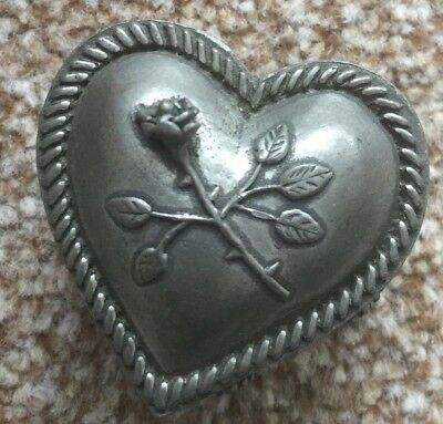 vintage / antique heart shape trinket box with c AEW england on bottom