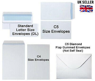 STANDARD / A5 / A4 NO WINDOW ENVELOPES WHITE DL C5 C4 SIZE Mixed MAIL FRAGILE