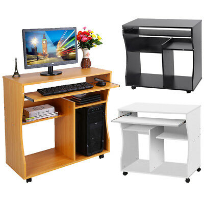 Small Computer Desk Home Office Laptop Table Workstation with Storage Shelves UK