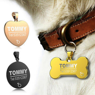 Custom Engraved Dog Pet ID Tag Tags Bone Cat Name Collar Phone Number Customized