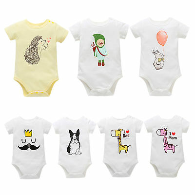 Newborn Baby Infant Boys Girls Romper Bodysuit Jumpsuit Summer Outfits Clothes
