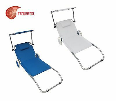 SUN BED SDECKCHAIR ALUMINUM TRANSPORTABLE WITH WHEELS 59 1/8X20 1/2X24 3/8in SEA
