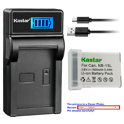 Kastar Battery LCD USB Charger for Canon NB-13L CB-2LH & PowerShot G9 X Mark II