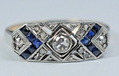 ANTIQUE ART DECO 18k Gold Diamond and Sapphire Engagement Cocktail Ring 2.9 Gr