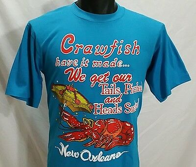 80s New Orleans CRAWFISH T Shirt L Vtg Bourbon Street TAILS PINCHED HEADS SUCKED