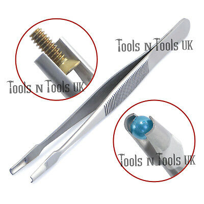 Unique Cylindrical Shaped Tweezers Universal Holder Jewellers Screws Pick Up 5""