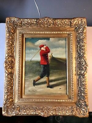 Antique Oil on Canvas Painting of a Golfer, Signed, Nice VTG Wood Frame
