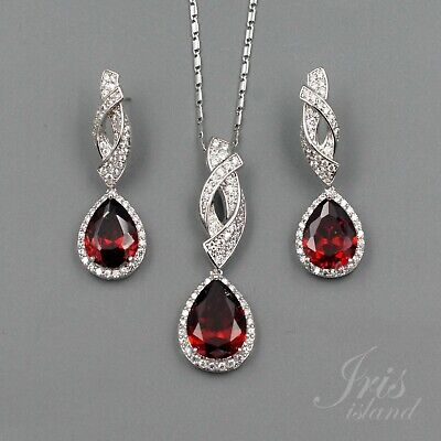 White Gold Plated Red Zirconia CZ Necklace Earrings Wedding Jewelry Set 1225 New